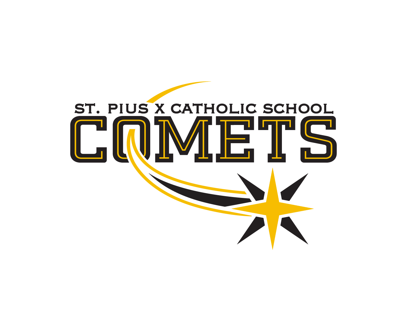 St. Pius Catholic School Comets Athletic Logo K-8 Education